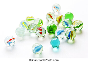 Isolated Marbles - Brightly colored marbles in different...