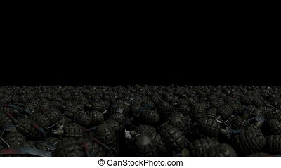 A large number of combat grenades - The camera flies through...