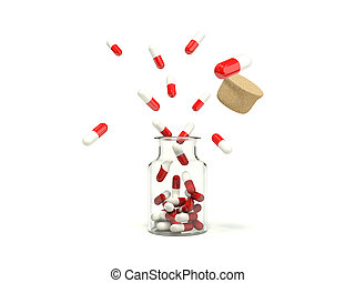 Pills coming out from the medicine