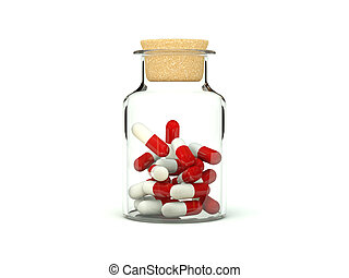 Pills in glass medicine bottle - Pills in glass medicine...