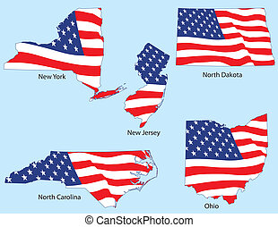 Five States with Flags - New York, New Jersey, North Dakota,...