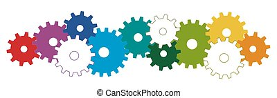 colored gears for cooperation symbolism - colored gear...