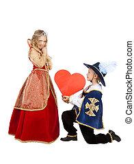 corazón, poco, el suyo, regalo, mosquetero, dama, da