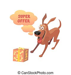 Cute fanny dog - Super offer concept. Happy funny shocked...