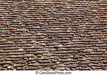 square roof tiles plain clay pattern weathered aged Pyrenees...