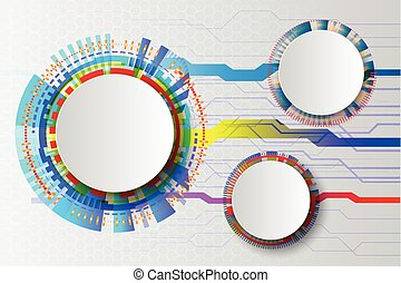 White Technology Abstract circuit, hi-tech computer digital technology concept, Blank white paper circle on gray color background