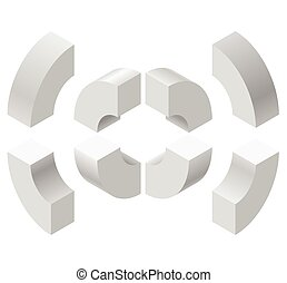 Arched shapes in isometric perspective, isolated on white background. Basic building blocks for creating abstract objects.