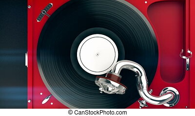 Top view of the vintage turntable and vinyl record. -...