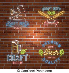 Set of neon signboard Craft Beer Bar with hops, barley and...