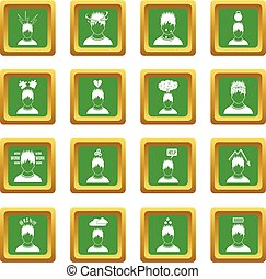 Stress icons set green - Stress icons set in green color...