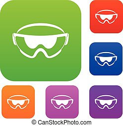 Safety glasses set collection - Safety glasses set icon in...