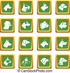 Dog icons set green - Dog icons set in green color isolated...
