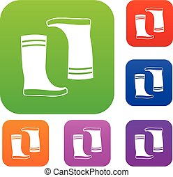 Rubber boots set collection - Rubber boots set icon in...
