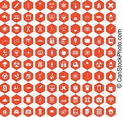100 chemistry icons hexagon orange - 100 chemistry icons set...