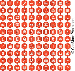 100 chemical industry icons hexagon orange - 100 chemical...