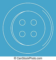 Sewing button icon, outline style - Sewing button icon blue...