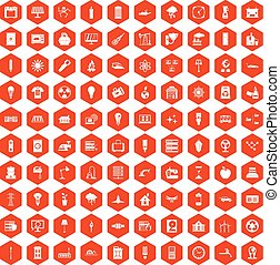 100 electricity icons hexagon orange
