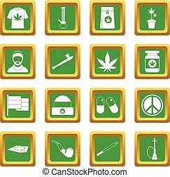 Set, groene,  rastafarian, iconen
