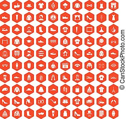 100 fashion icons hexagon orange