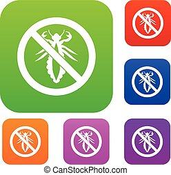 No louse sign set collection - No louse sign set icon in...