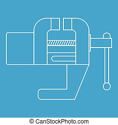 Vise tool icon, outline style - Vise tool icon blue outline...