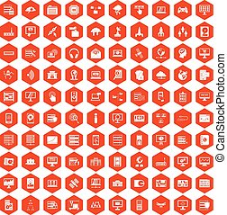 100 database and cloud icons hexagon orange