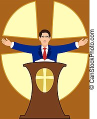 Flat Vector Preacher - Preacher is spreading his arms during...