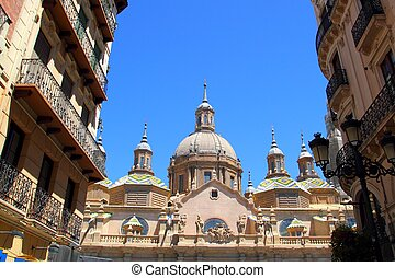 El Pilar Cathedral in Zaragoza city Spain view from Alfonso...