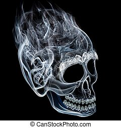 Smoke skull - Smoke shaped like skull on black background