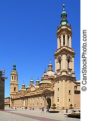 El Pilar Cathedral in Zaragoza city Spain outdoor blue sky