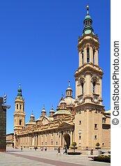 El Pilar Cathedral in Zaragoza city Spain outdoor blue sky