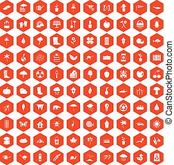 100 garden stuff icons hexagon orange - 100 garden stuff...