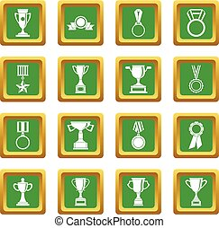 Trophy icons set green