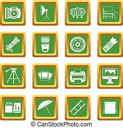Photo studio icons set green - Photo studio icons set in...