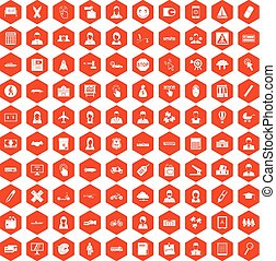 100 initiation icons hexagon orange - 100 initiation icons...
