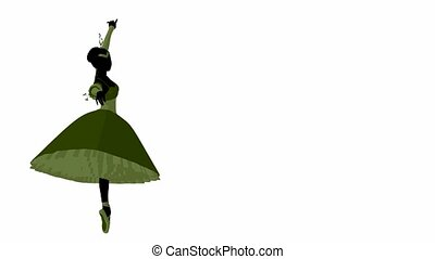 Ballerina twirling around on a white background