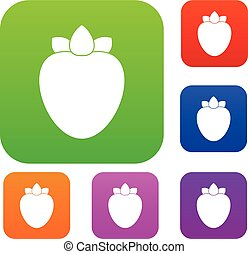 Ripe persimmon set collection - Ripe persimmon set icon in...