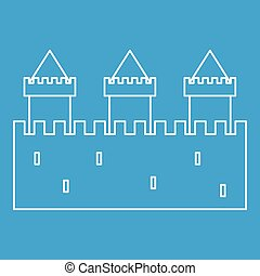 Medieval fortification icon, outline style - Medieval...