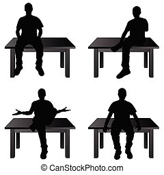 man siting on table in various poses illustration