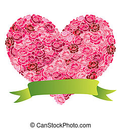 Abstract rose heart. Illustration vector.