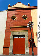 Red Building in Puebla - Colonial red building in the...