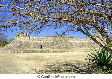 Platform at the Monte Alban Temple - Front of platform at...