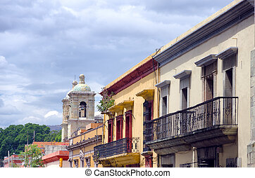 Colonial Street with Church in Puebla - Houses and chuch on...