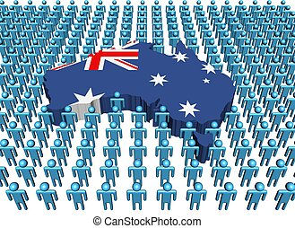 Australia map flag with people