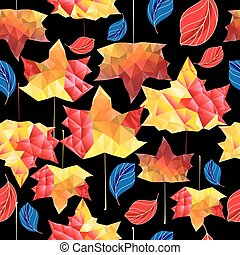 Multicolored autumn pattern of maple leaves on a dark...