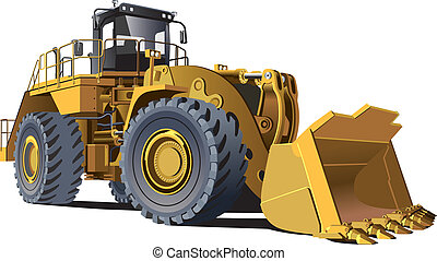 large wheel loader - detailed vectorial image of wheel...