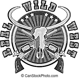 Real Wild West_engraving - round vignette with skull of...