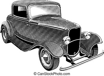 vintage muscle car_engraing - Vectorial image of glamour...