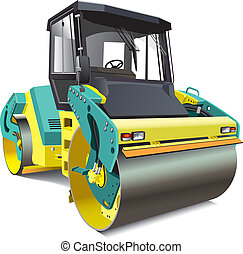 double roller - detailed vectorial image of yellow double...