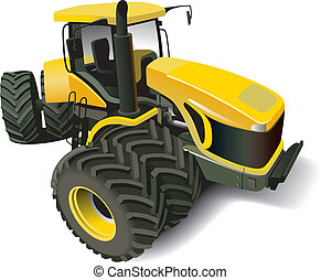Yellow Modern Tractor - Detailed vectorial image of yellow...